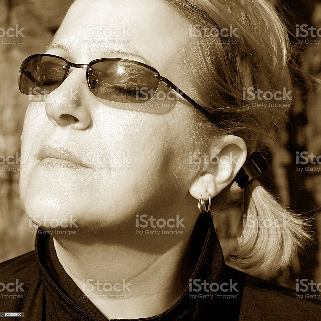 Strong woman with eyes closed royalty-free stock photo
