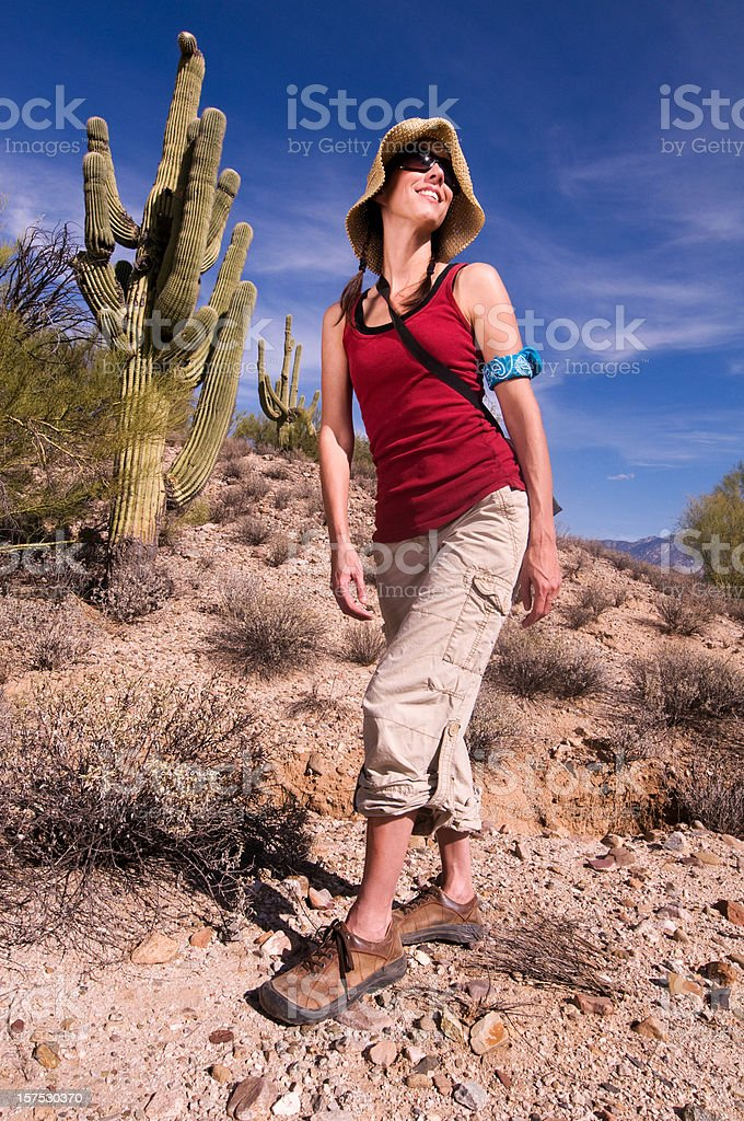 Strong Young Woman Hiking stock photo