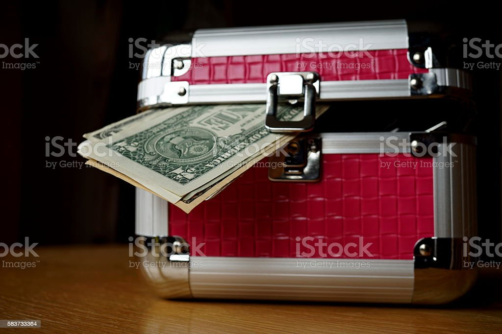 Strongbox with holding thick pack of money (American Dollars, USD) stock photo