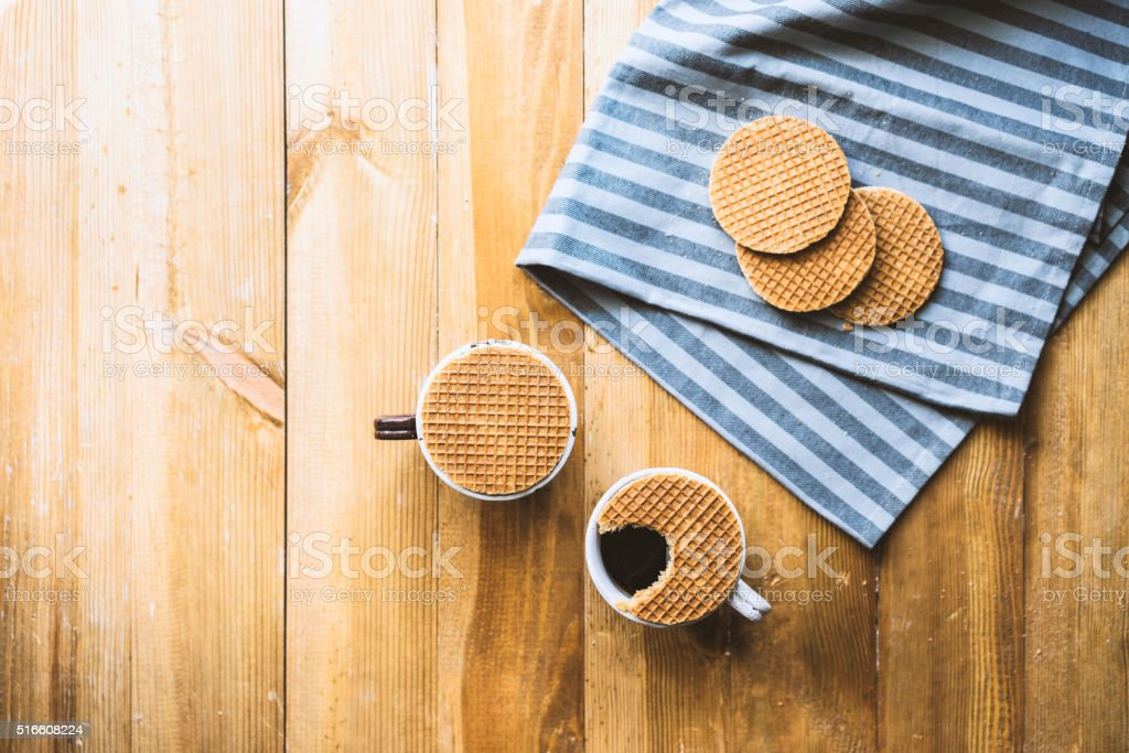 Stroopwafel and coffee stock photo