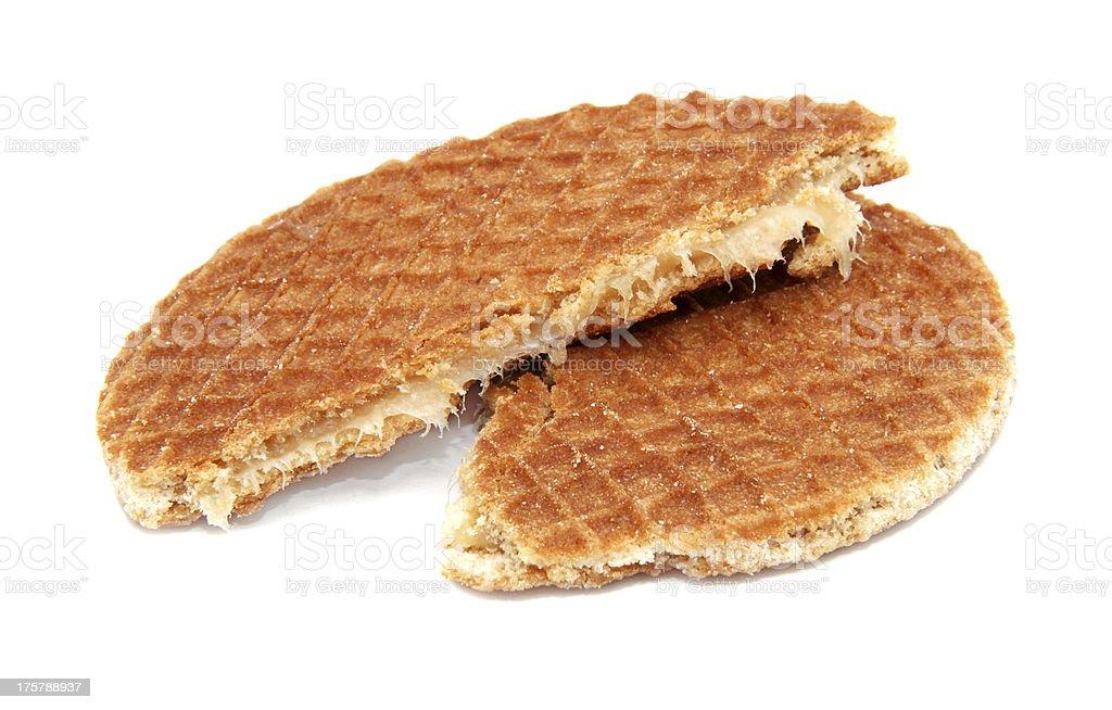 Stroopwafel, Dutch caramel waffle broken in half royalty-free stock photo