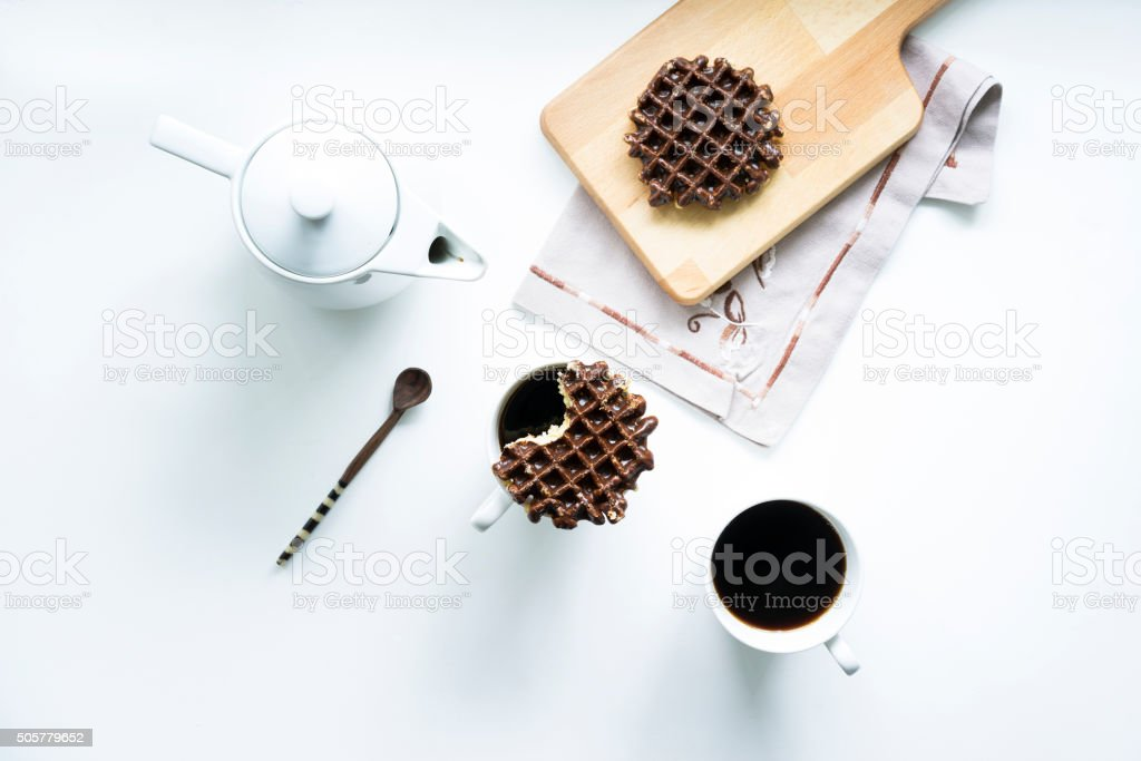 Stroopwafels and coffee stock photo