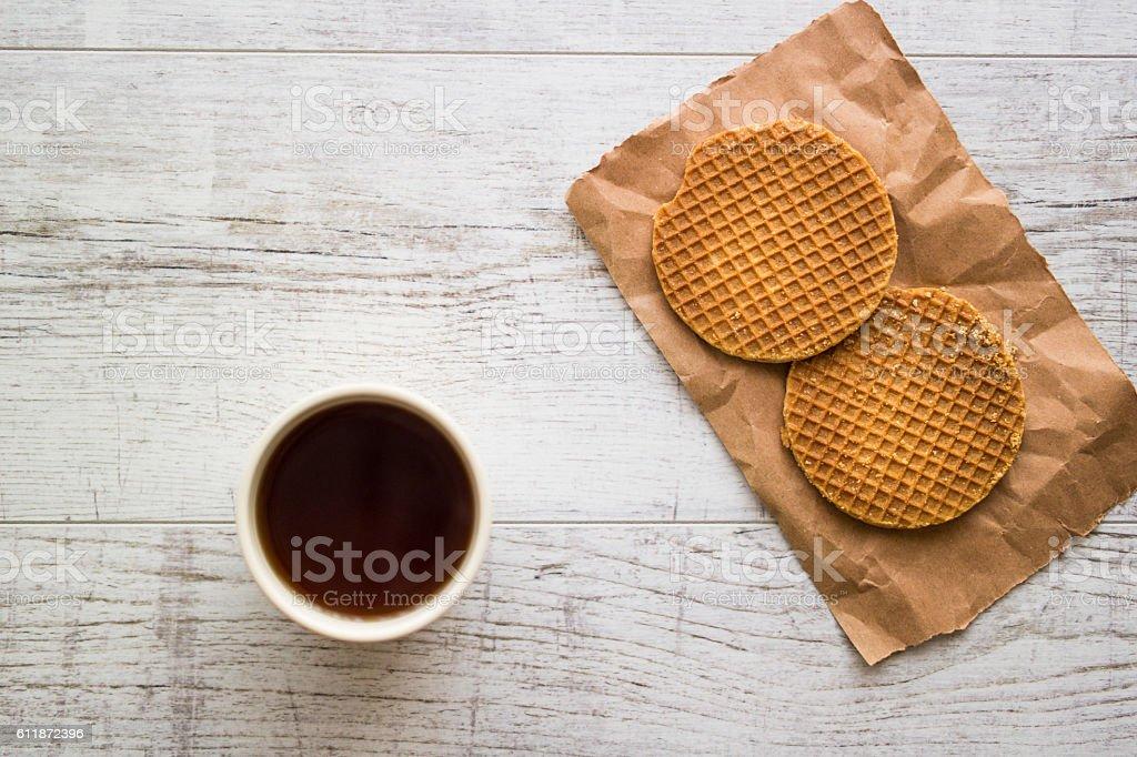 Stroopwafels / Caramel Dutch Waffles with tea or coffee. stock photo