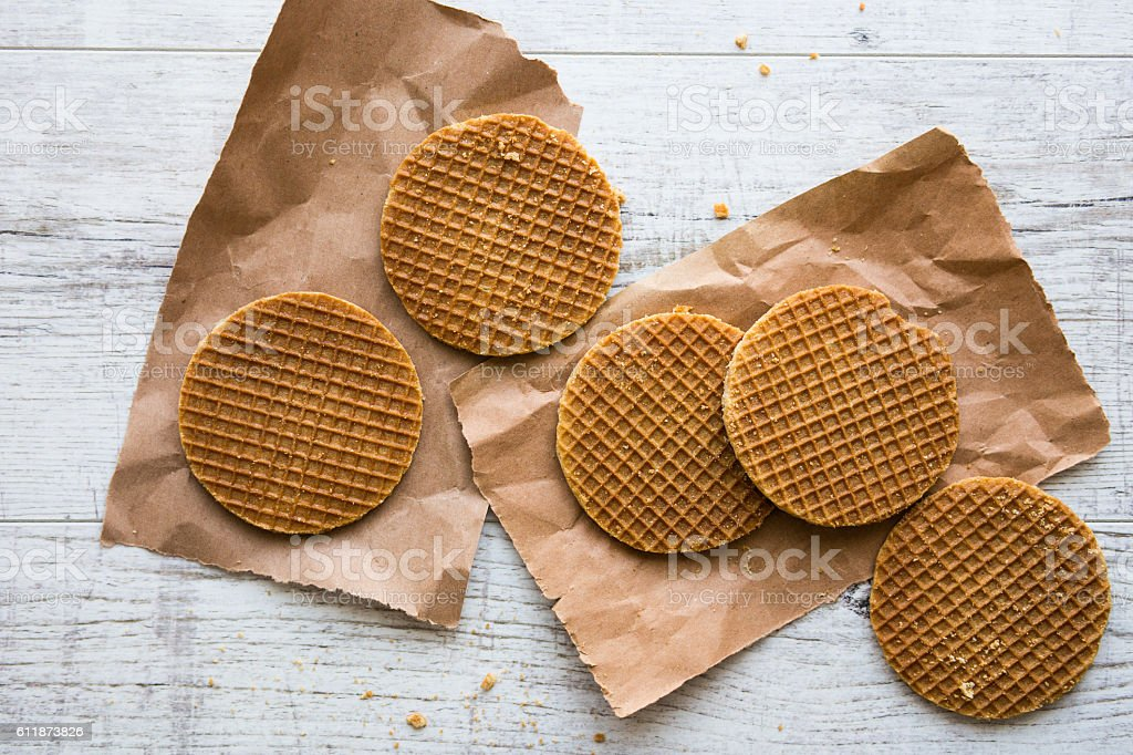 Stroopwafels or Dutch Waffles with caramel. stock photo