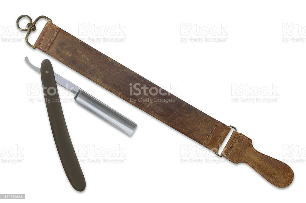 Strop and Razor with Path stock photo
