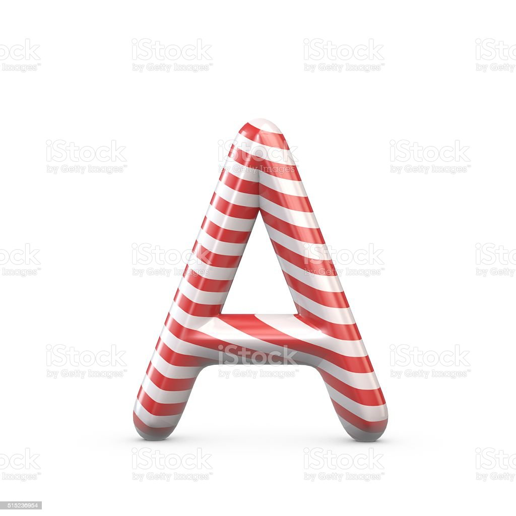 Strped candy cane capital letter A stock photo