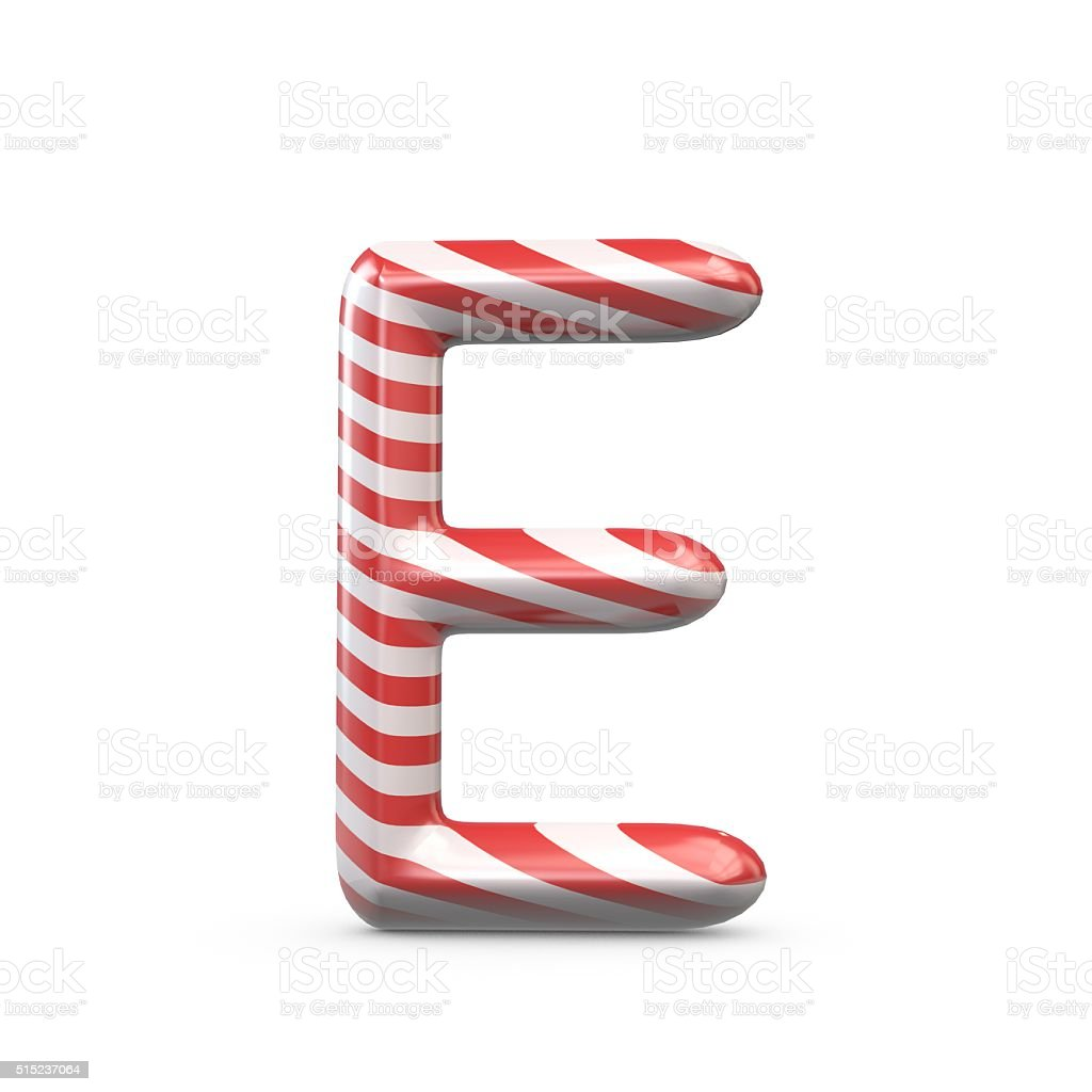 Strped candy cane capital letter E stock photo