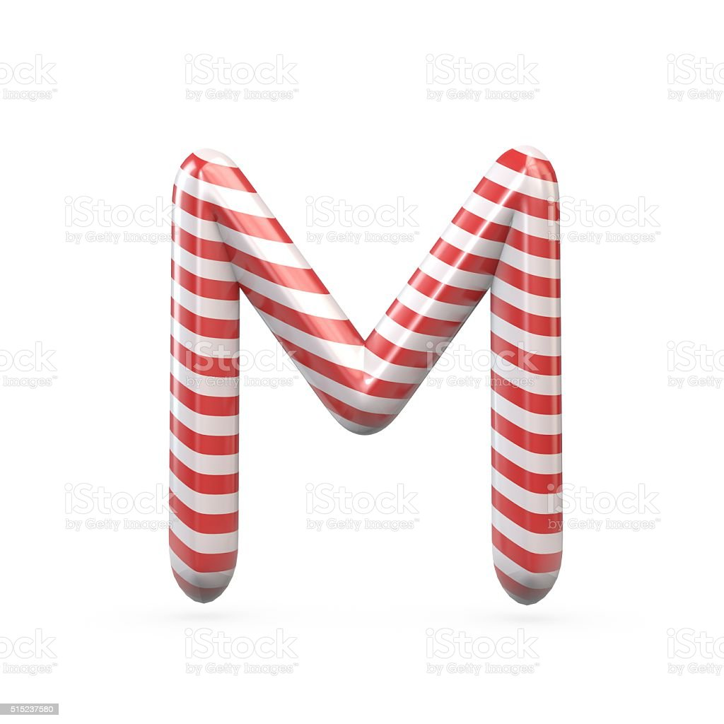 Strped candy cane capital letter M stock photo