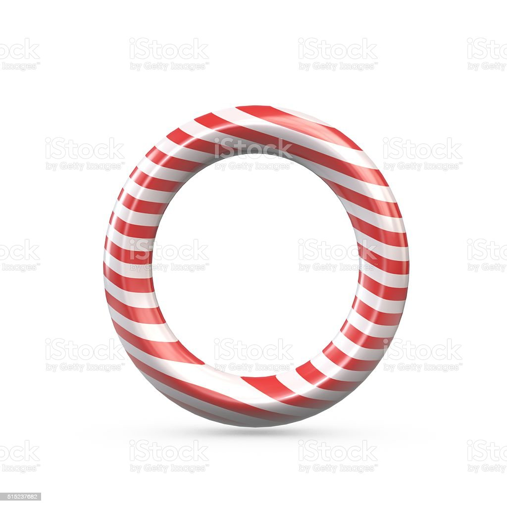 Strped candy cane capital letter O stock photo