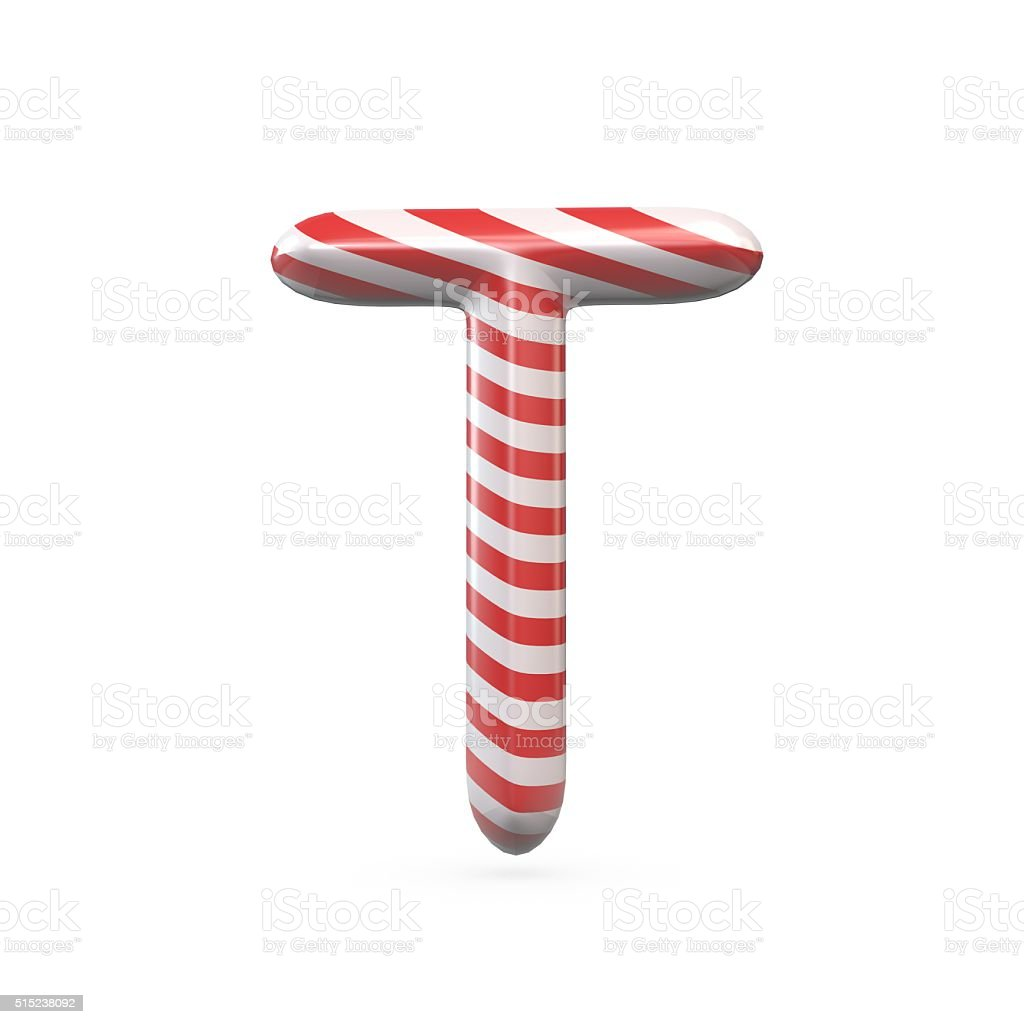 Strped candy cane capital letter T stock photo