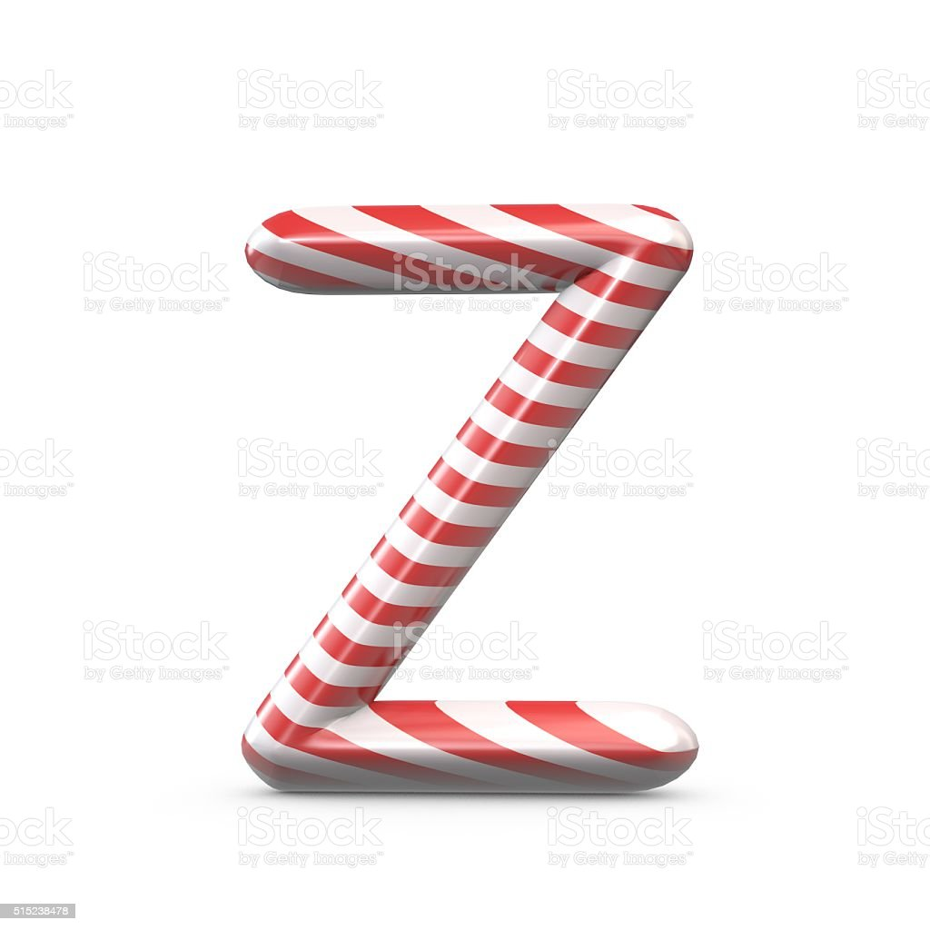 Strped candy cane capital letter Z stock photo
