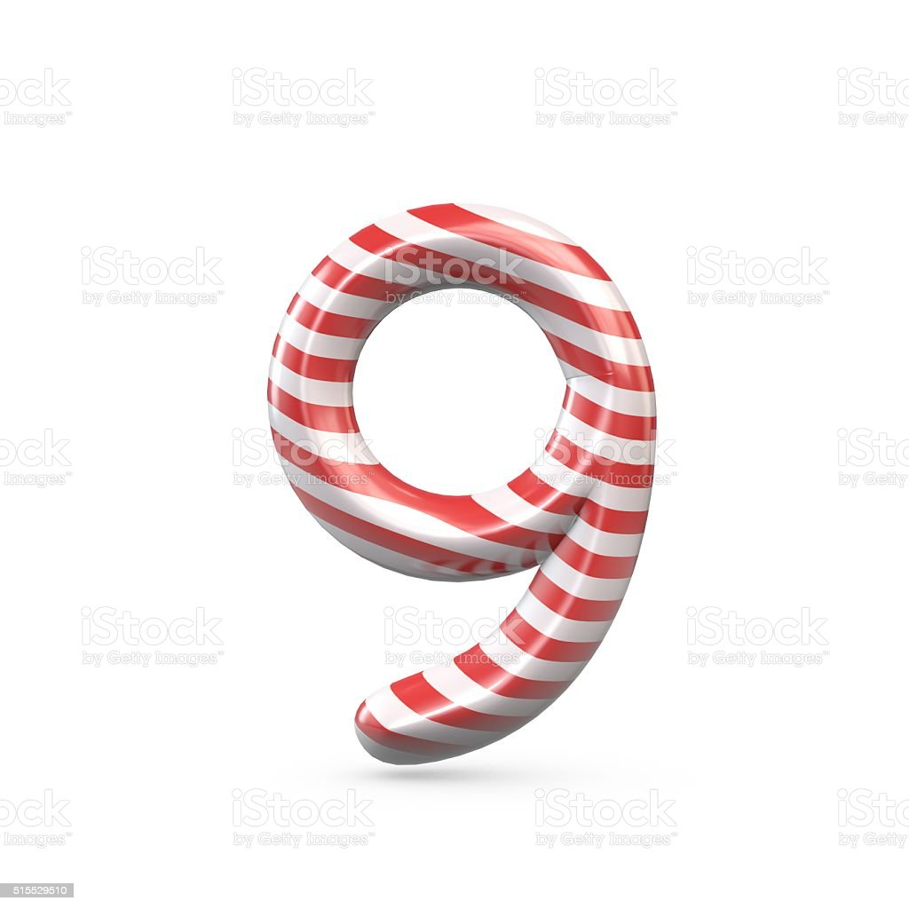 Strped candy cane number 9 stock photo