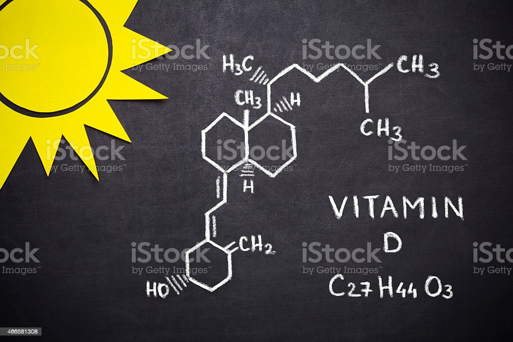 Structural chemical formula of vitamin D stock photo