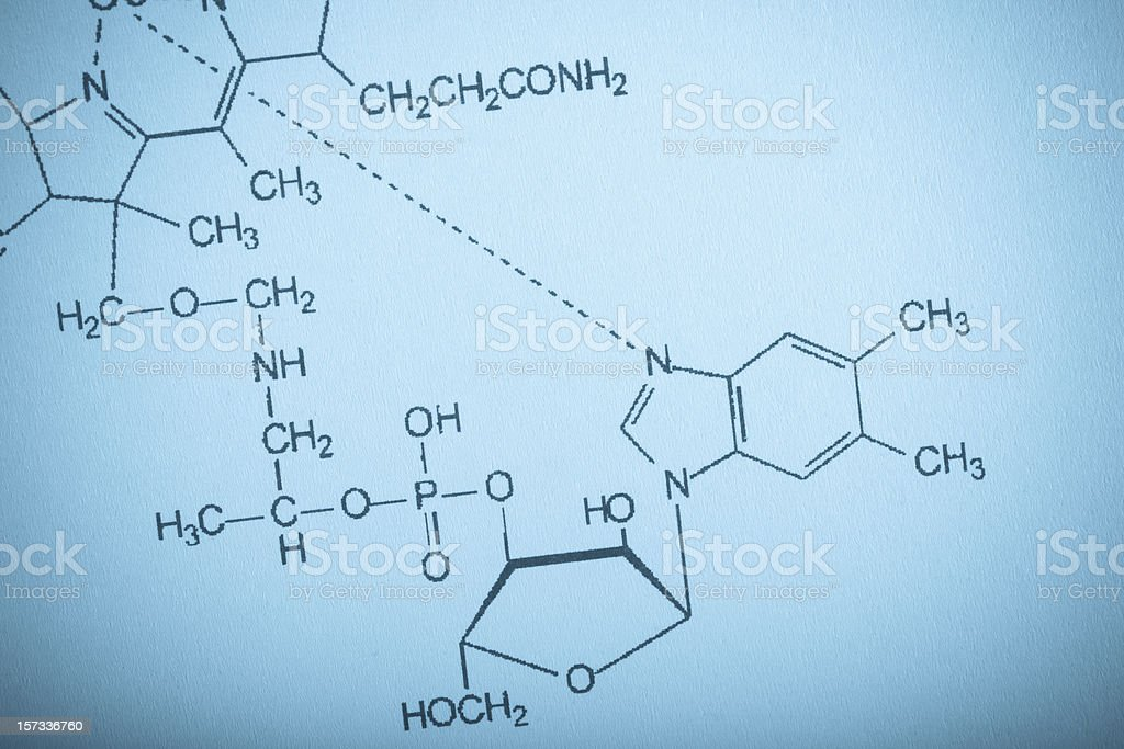 Structural diagrams of vitamin molecules on a screen royalty-free stock photo