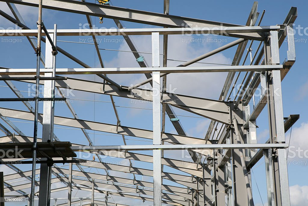 A structural frame of steelworks under construction stock photo