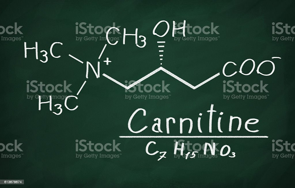 Structural model of Carnitine on the blackboard. stock photo