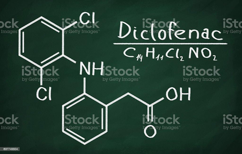 Structural model of Diclofenac stock photo