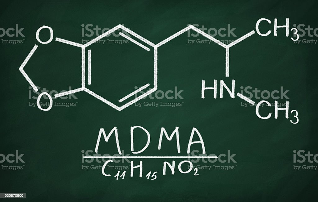 Structural model of MDMA (ecstasy) stock photo