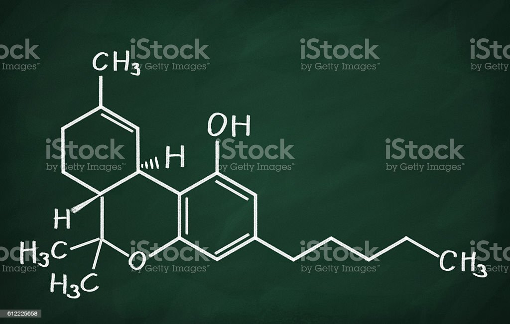 Structural model of THC molecule stock photo