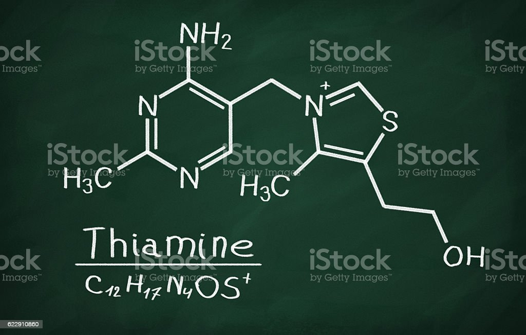 Structural model of Vitamin B1 (Thiamine) stock photo