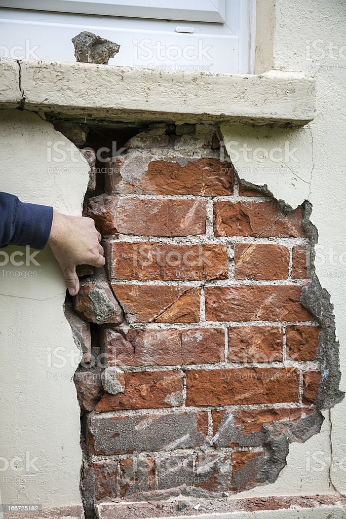 Structural problem: crack in wall stock photo