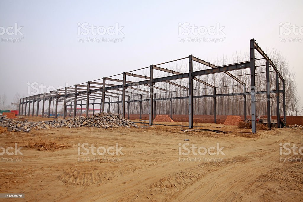 structural steel beam construction site royalty-free stock photo