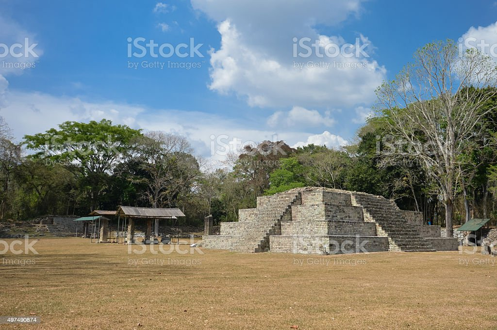 Structure 4 at the Great Plaza of Copan in Honduras stock photo