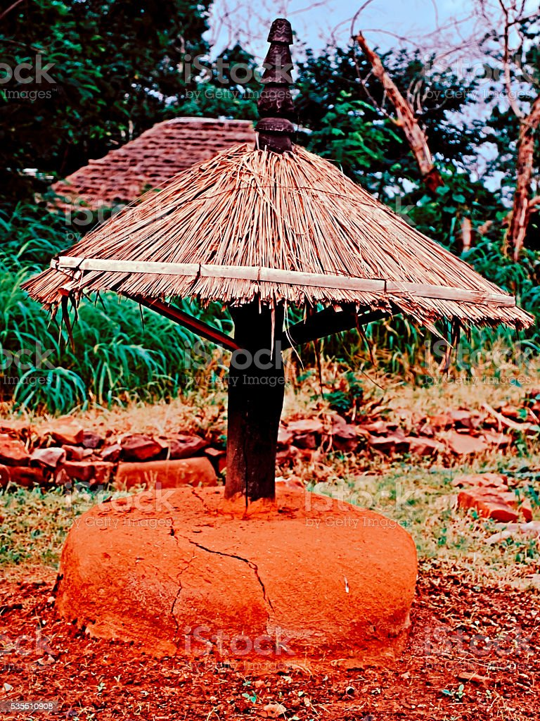 Structure in front of Abode of Baora Tribes, Orissa stock photo