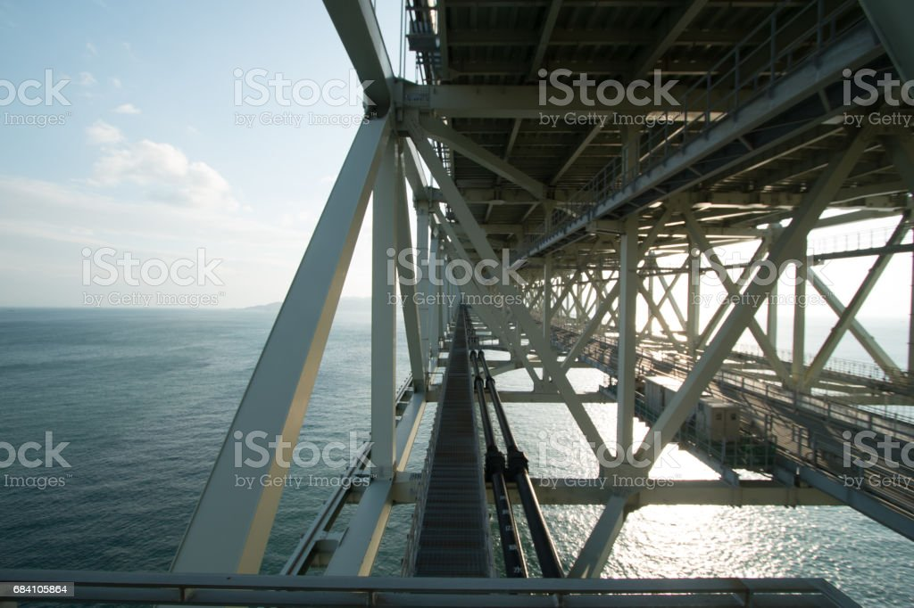 Structure of Akashi Kaikyo Bridge in Kobe, Japan, viewed from the pedestrian walkway stock photo