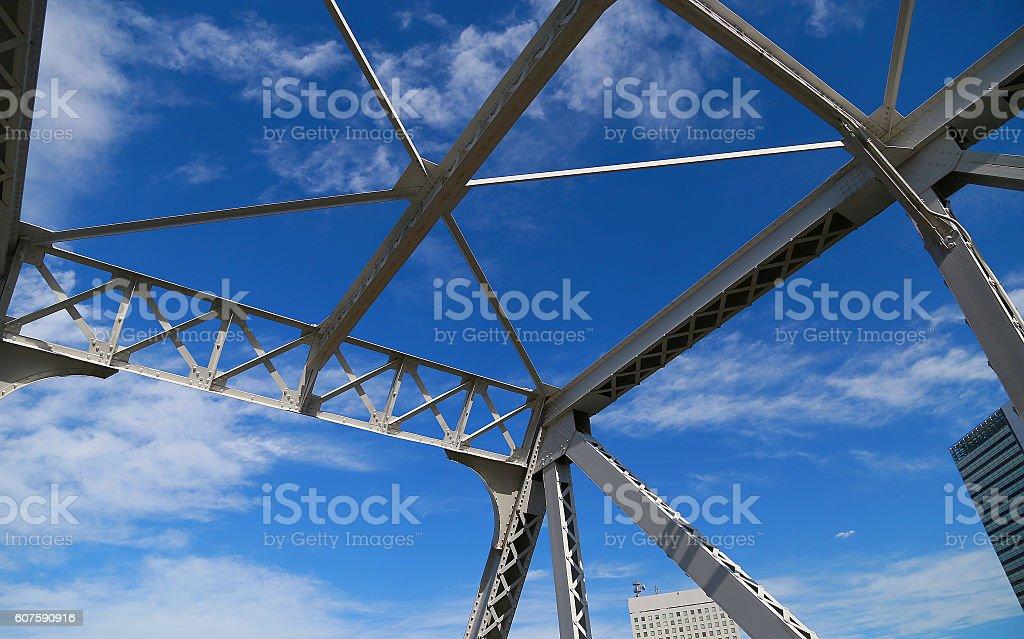 Structure of blue sky and iron foto de stock libre de derechos