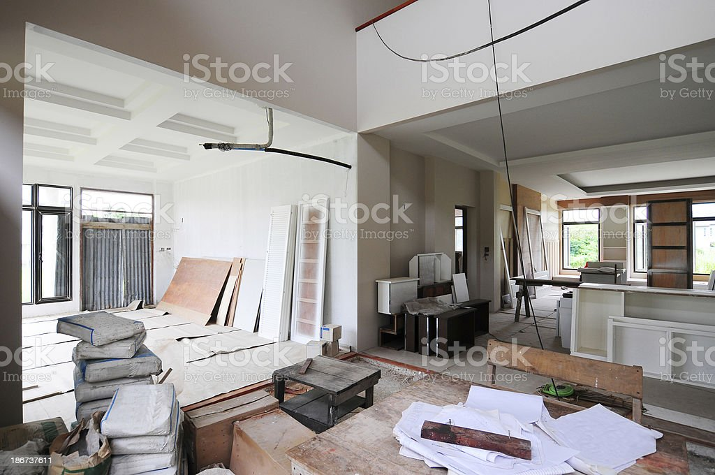Structure of house in construction royalty-free stock photo