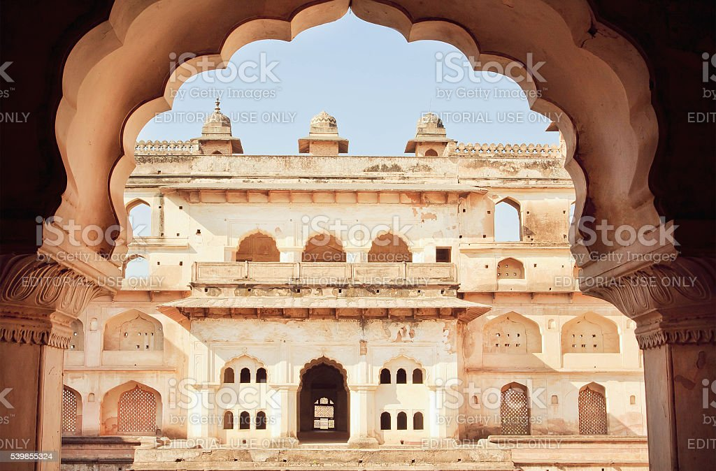 Structure of Jahangir Mahal built in 17th century in India stock photo