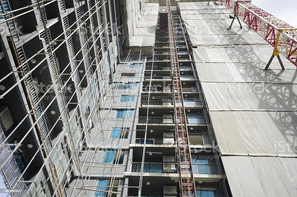 Structure of precast building in construction stock photo