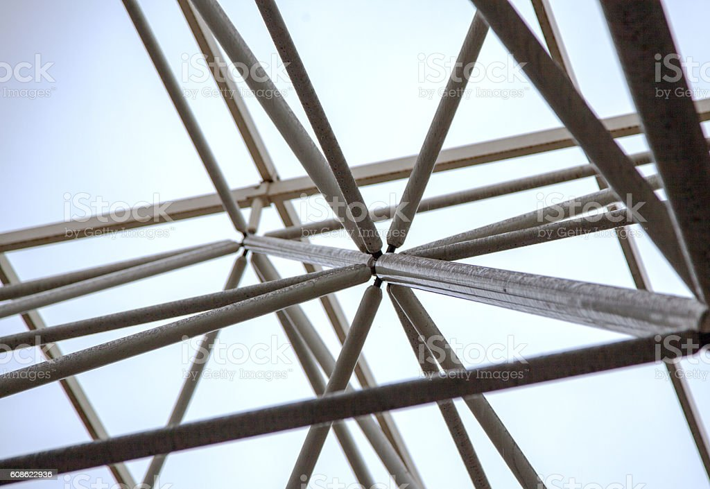 Structure of steel roof frame stock photo