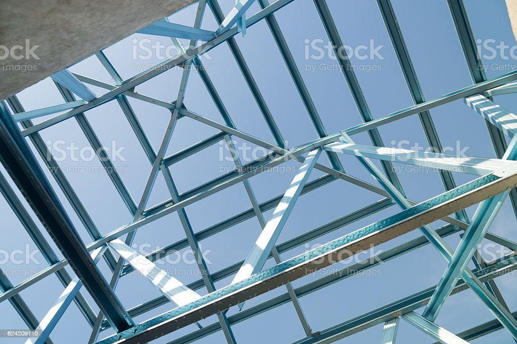 Structure of steel roof. stock photo