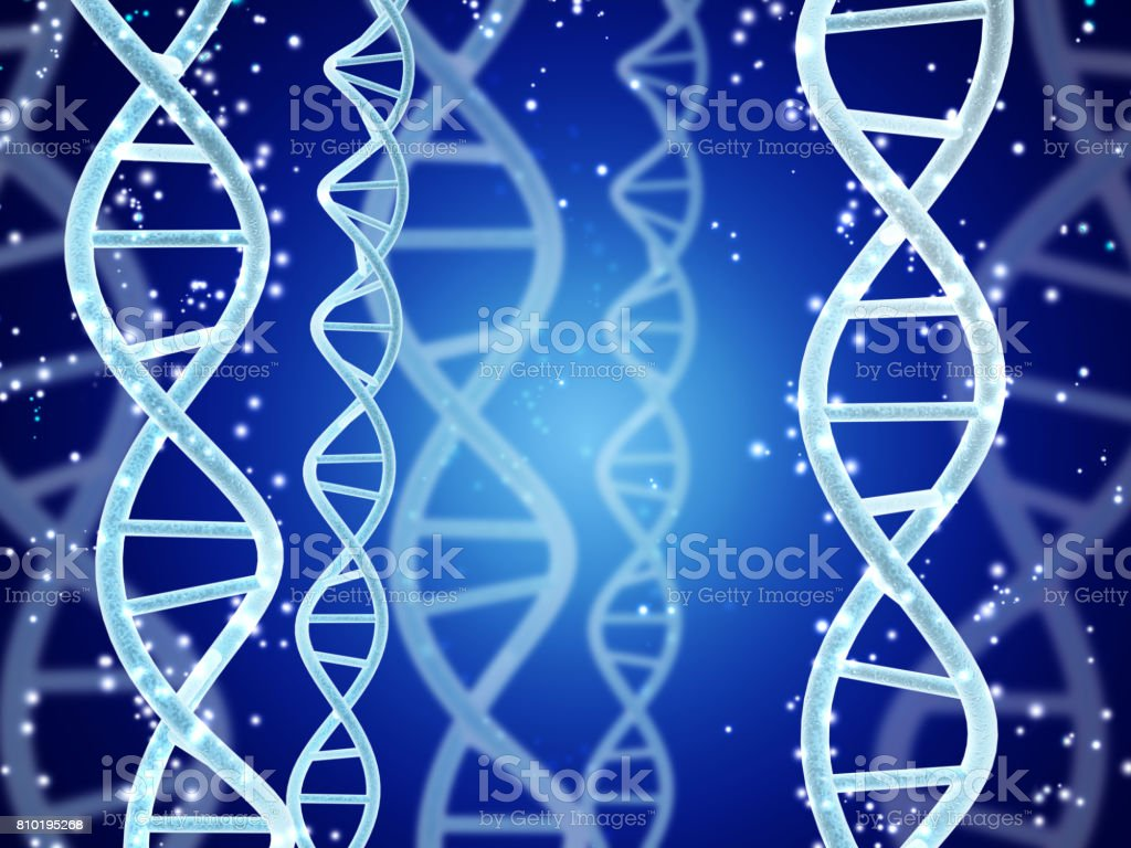 DNA structure on abstract blue background stock photo