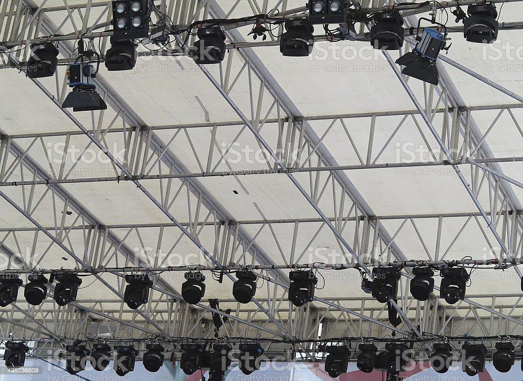 Estruturas de equipamento de iluminação de palco de Luzes foto de stock royalty-free