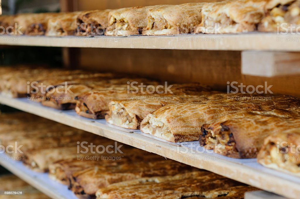 Strudel on a rack stock photo