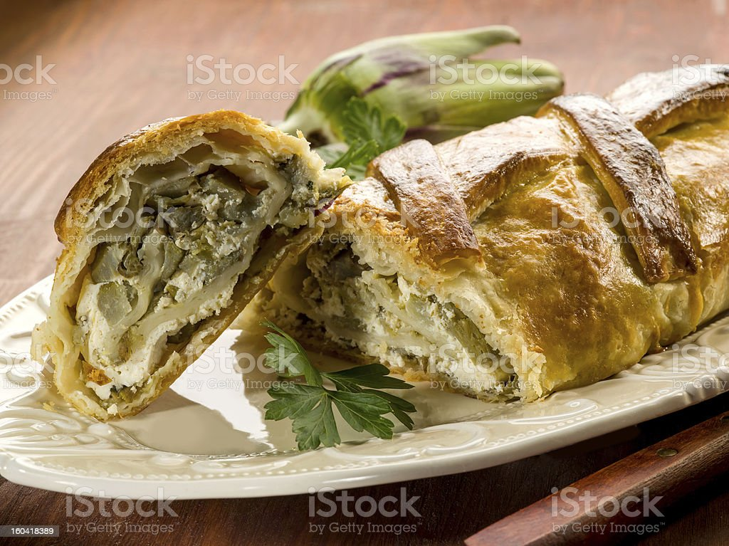 strudel with artichoke and ricotta royalty-free stock photo
