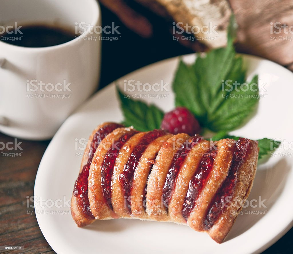 Strudel with raspberry royalty-free stock photo