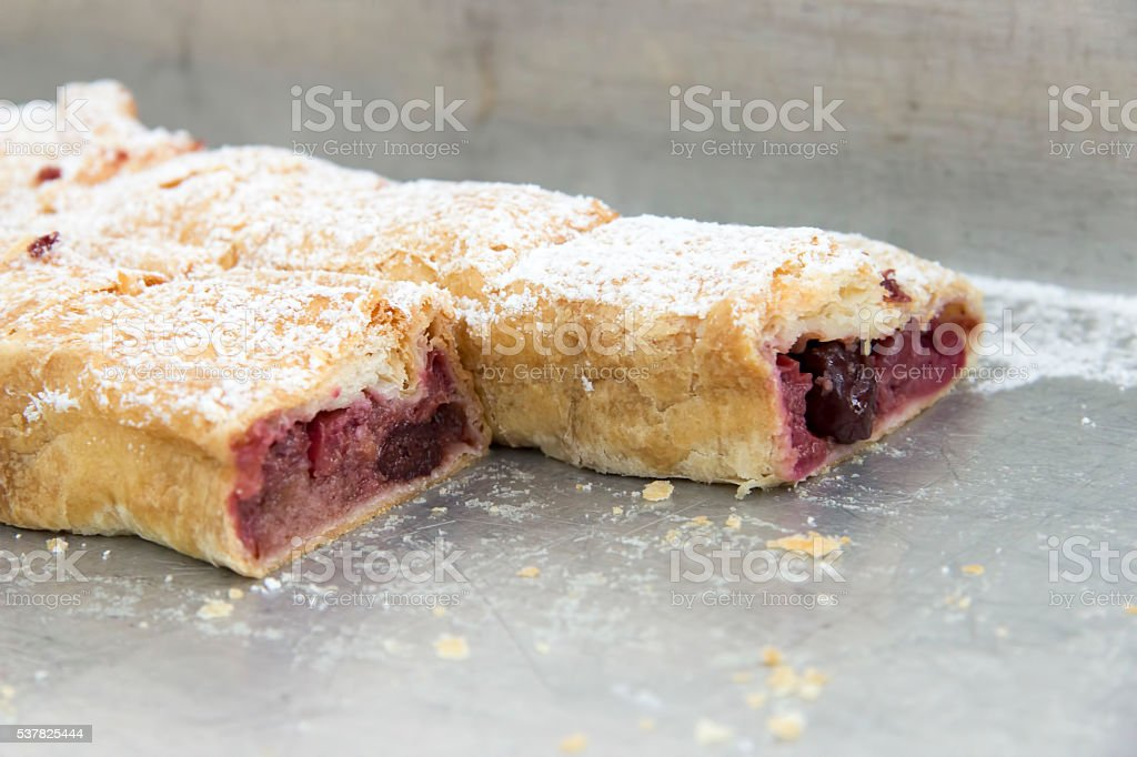 Strudels with sour cherry stock photo