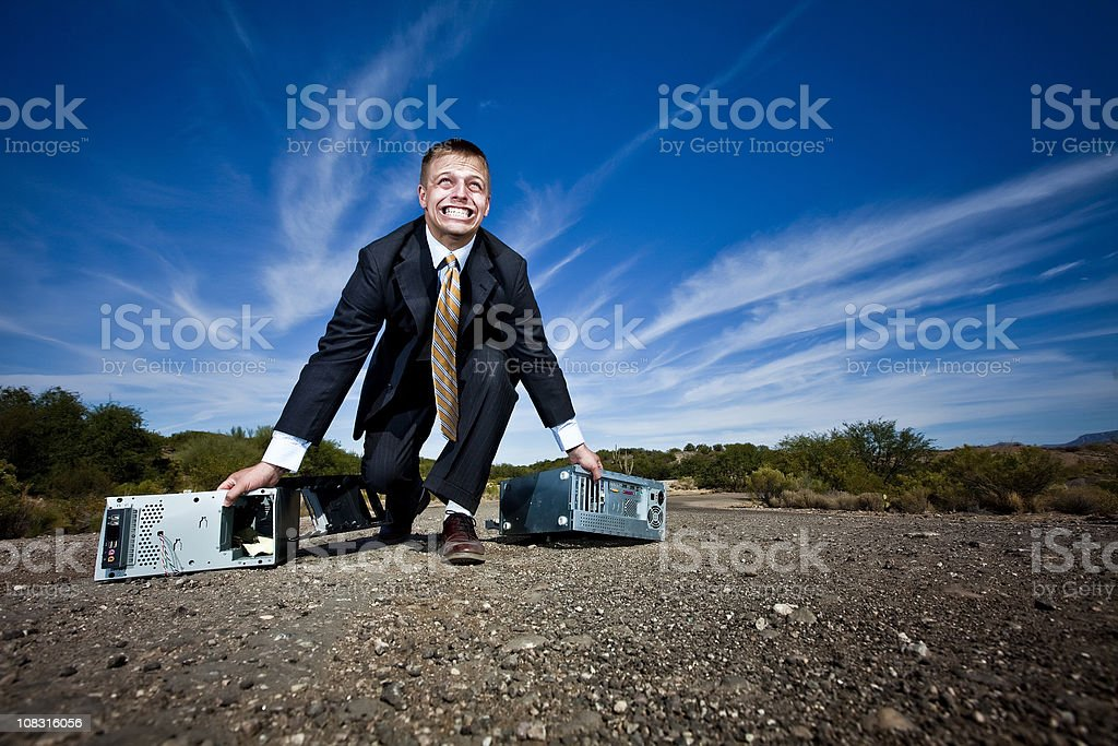Struggling business man royalty-free stock photo