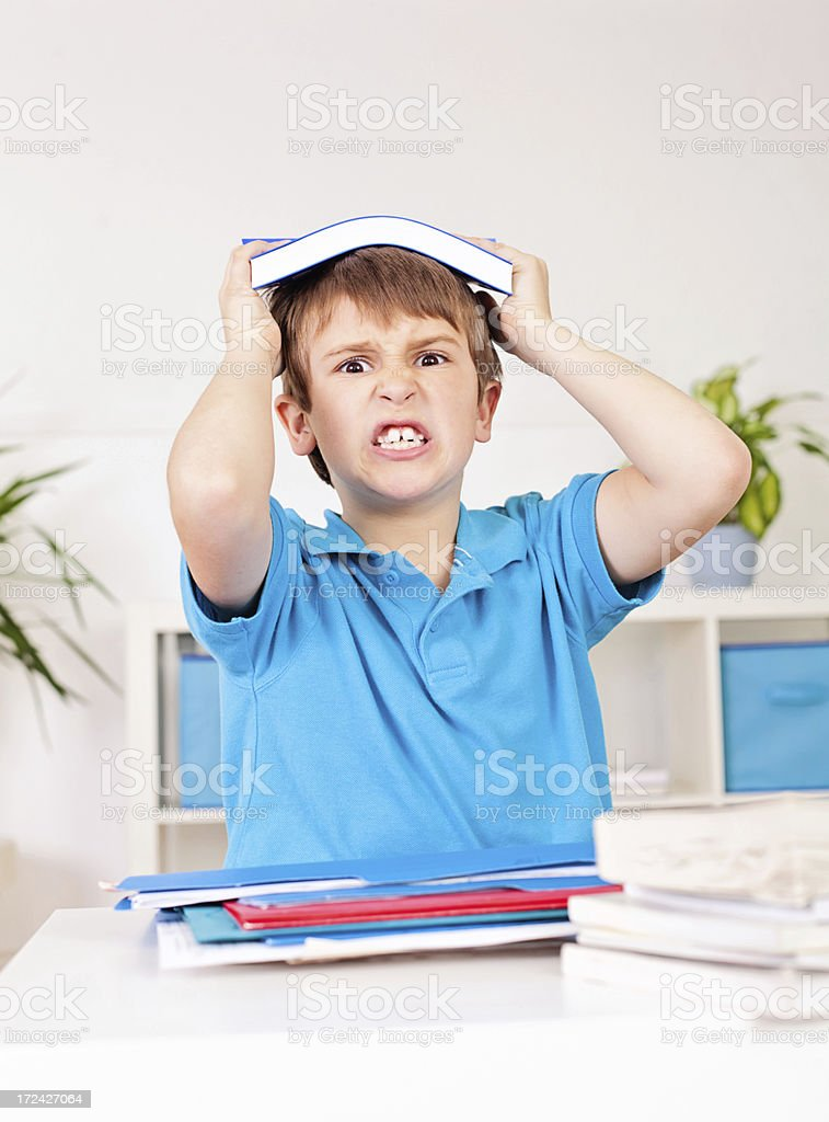 Struggling with homework royalty-free stock photo