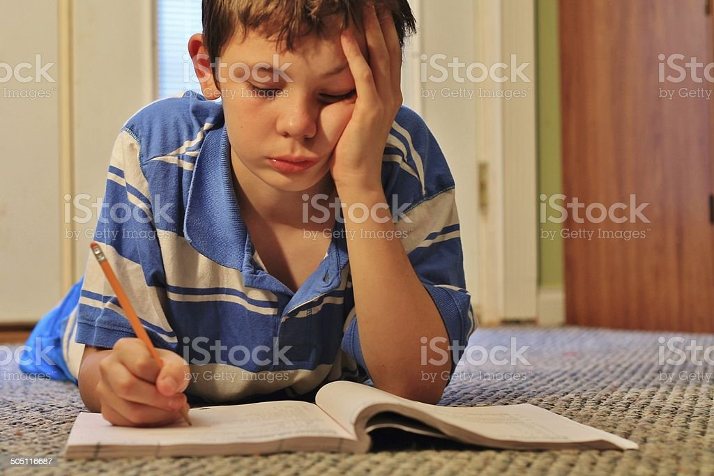 Struggling with Homework stock photo