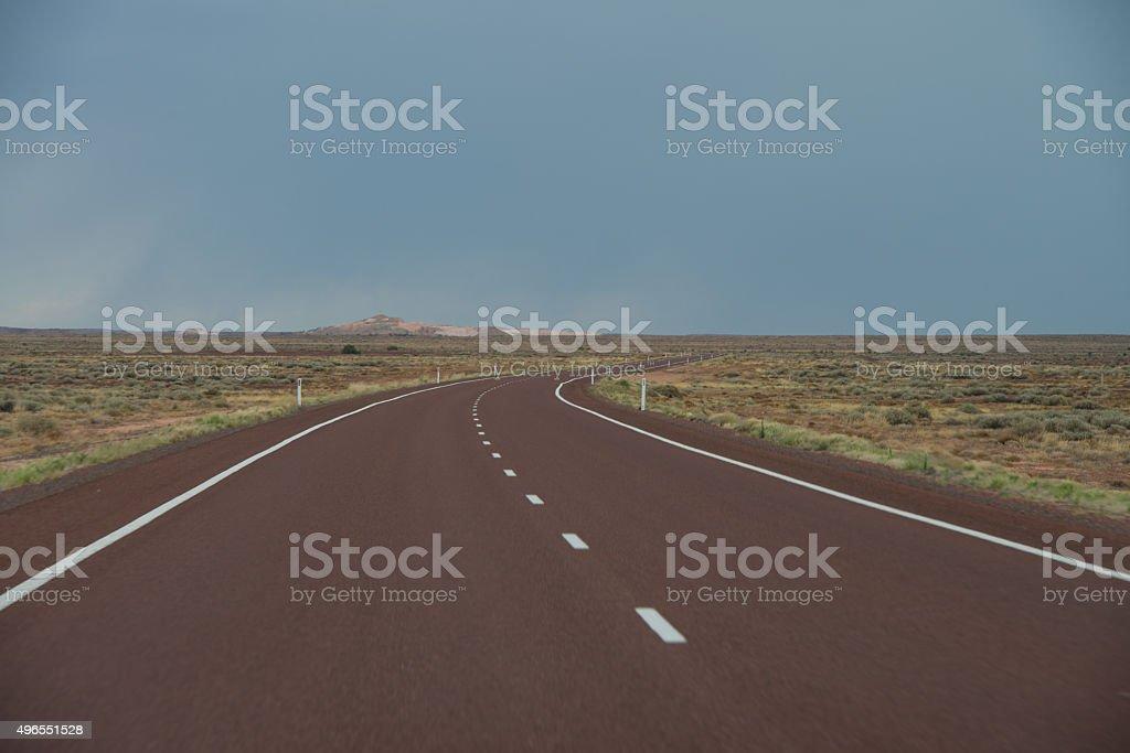 Stuart Highway, near Coober Pedy, South Australia stock photo