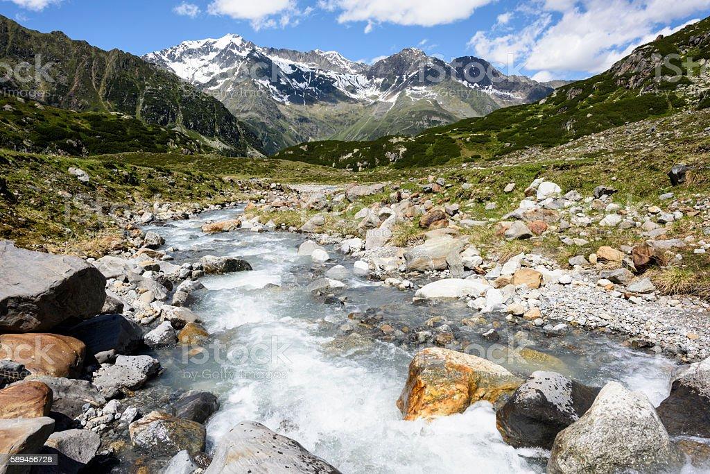 Stubai Alps, Ruderhofspitze, Stream stock photo