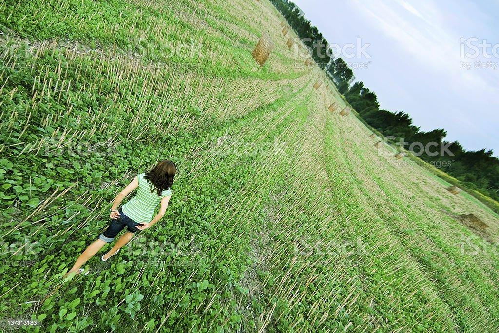 Stubble field stroll stock photo