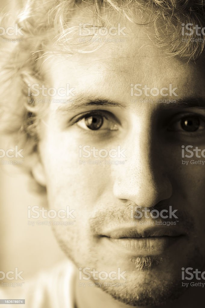 Stubble two days growth blonde hair sepia royalty-free stock photo