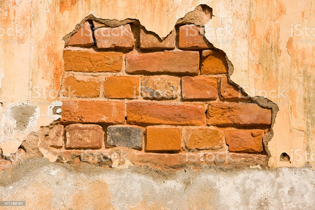 Stucco covered brick wall background. royalty-free stock photo