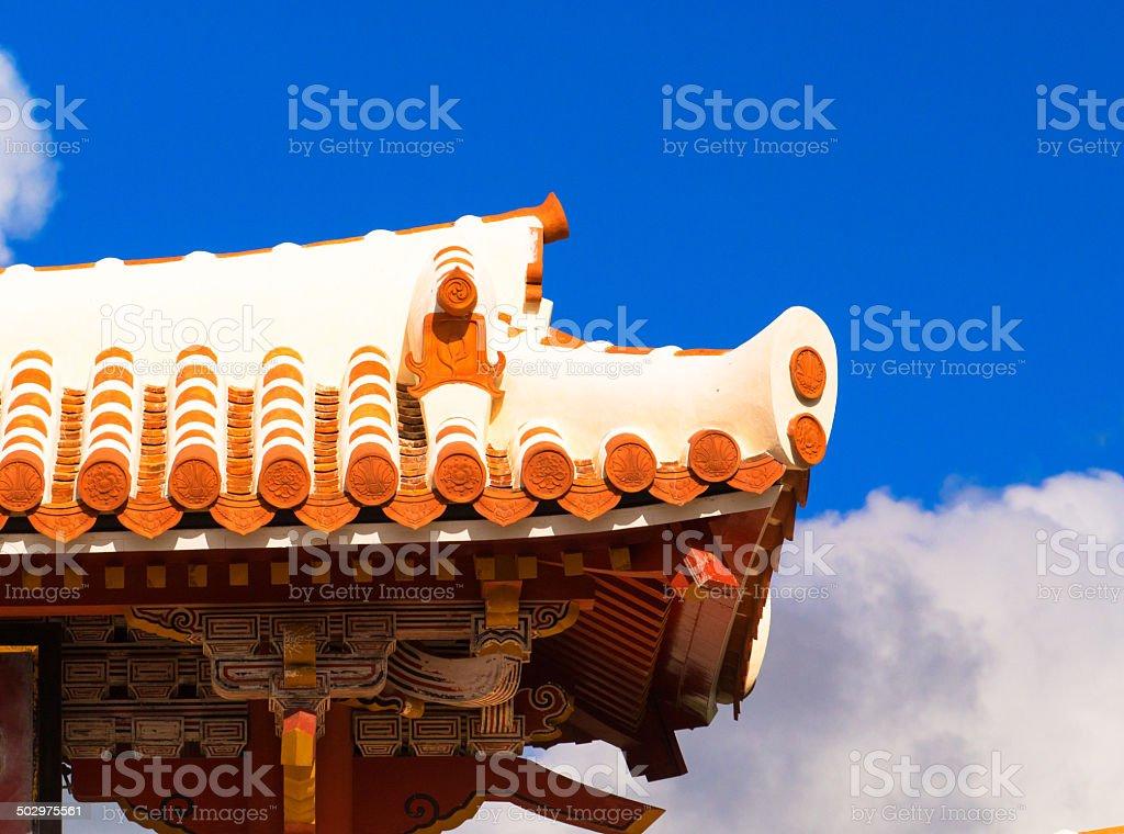 Stucco Roof of Shurei Gate stock photo
